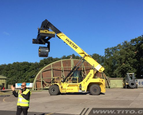 Steel coil handling with a Hyster reach stacker.